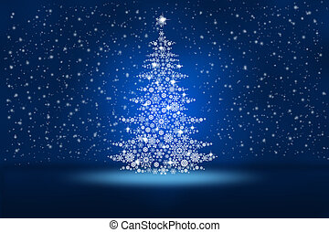 Christmas tree from snowflakes on an abstract blue background