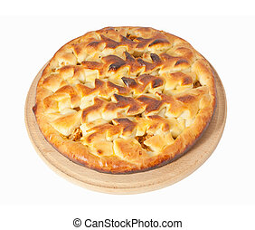 apple pie on white background, with clipping path included