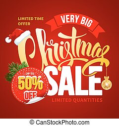Christmas Sale Design Template. Calligraphy Inscription...