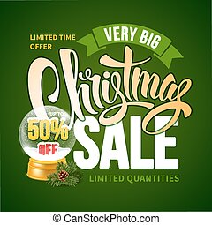 Christmas Sale Design Template with Calligraphy Inscription...