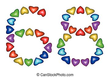 Number 68, sixty eight of colorful hearts on white - Number...