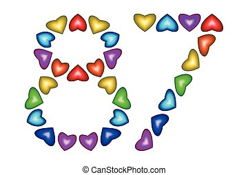 Number 87 eighty seven of colorful hearts on white - Number...