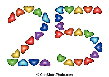 Number 25, twenty five of colorful hearts on white - Number...