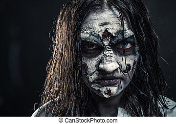 Zombie woman with bloody face