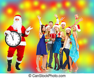 Christmas Santa Claus. - Santa Claus with happy people...