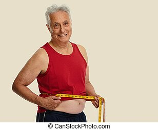 Senior man with measuring tape. - Elderly smiling man with...
