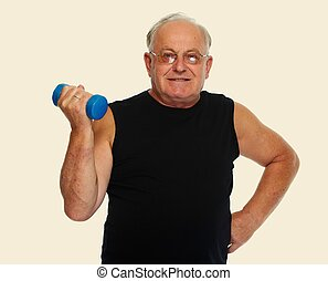 Senior man with dumbbell. - Elderly healthy man with...
