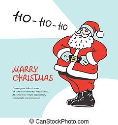 Vintage laughing santa claus isolated on white background....