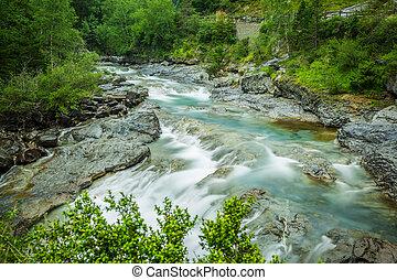 Ebro river through a valley in Cantabria, Spain