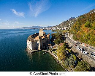 Aerial view of Chillon Castle - Chateau de Chillon in...