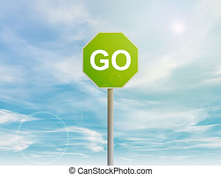 Green GO sign in the sky - Illustration of green Go sign in...
