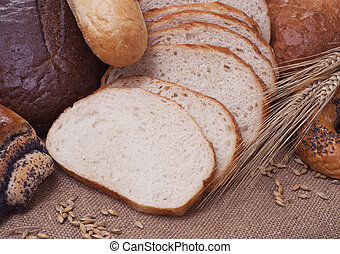 bread - composition of bread and wheat spikelets