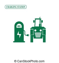 Electric tractor charging station vector icon