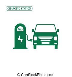 Electric minibus charging station vector icon