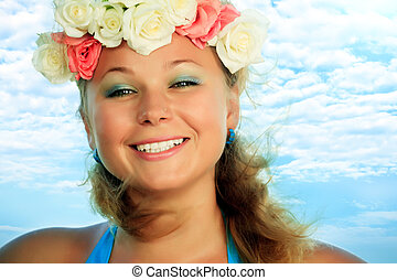 Summer woman - Portrait of a smiling womanl with flowers