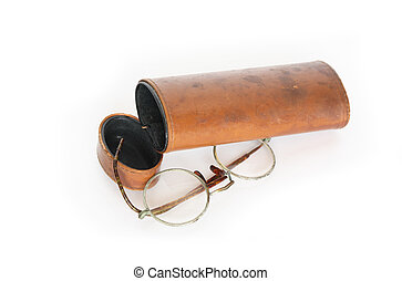 Old Spectacles - Old spectacles and vintage ginger leather...