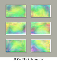 Set of Stylish Business Cards with Holographic Effect. - Set...