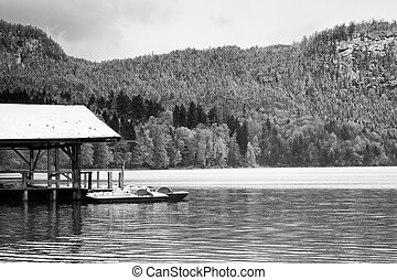 Wooden roof for trip holiday paddle boats. Holiday resort on...