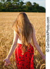 Girl with long hair standing in a wheat field with his back, in the rays of the evening sun