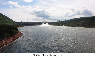 Power station - Spillway of hydro electric power dam
