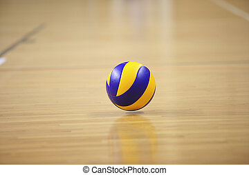 Volleyball ball in sport hall