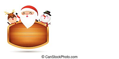 Christmas santa claus reindeer and snowman perched at wooden sign vector illustration eps 10 001