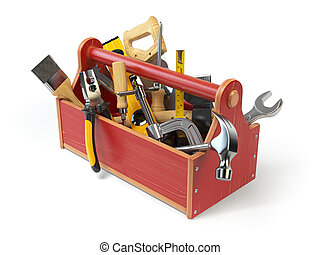 Wooden toolbox with tools isolated on white. Skrewdriver, hammer, handsaw, axe, pliers and wrench