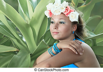 Woman portrait - Portrait of a young woman with flowers