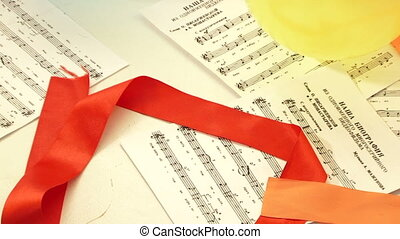 Notes are scattered on the floor - Musical notes scattered...