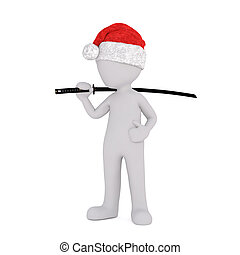 3D illustrated man stands with ninja sword against his neck...