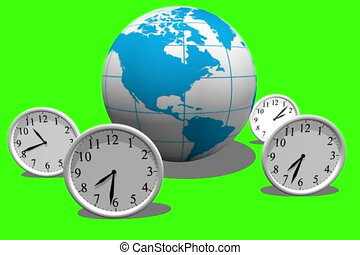 Timezone - Globe with clocks isolated on green