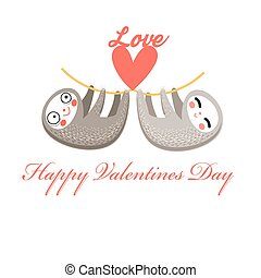 Lovers funny sloth on a white background