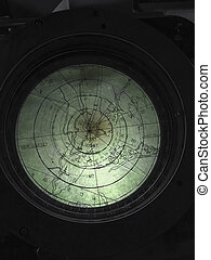 ships navigation radar screen - Closeup fragment of ships...