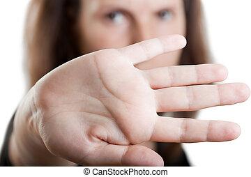 escondendo, mão, rosto