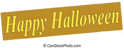 Happy Halloween - Rubber stamp with text happy halloween...