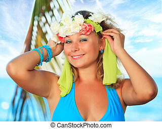 Happy woman - Young happy woman with wreath on her head