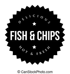 Fish and Chips vintage black stamp