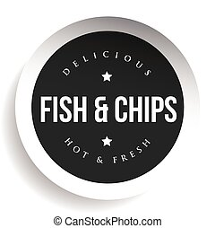 Fish and Chips vintage black stamp sticker