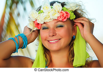 Summer girl - Portrait of a smiling Hawaiian girl with...