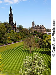 Princess Gardens. Edinburgh. UK. - Striped lawn of Princess...