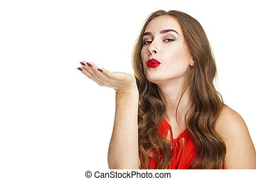 Blow kiss, young caucasian blonde woman - Blow kiss, young...