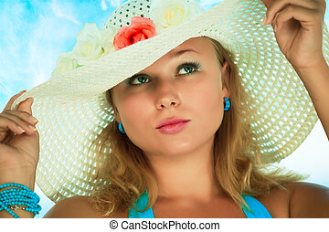 Woman in hat - Young beautiful woman in hat with flowers