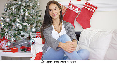 Beautiful relaxed woman celebrating Christmas - Beautiful...