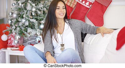 Beautiful relaxed woman celebrating Christmas - Beautiful...