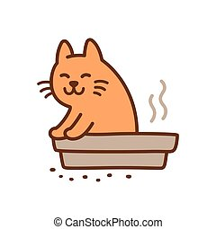 Cute pooping cat - Funny cat pooping in litter box drawing....
