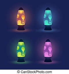 Glowing lava lamps set - Four realistic lava lamps in...