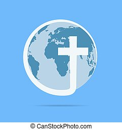 Christian cross icon with globe Earth. Vector illustration.