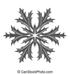Silver snowflake isolated.