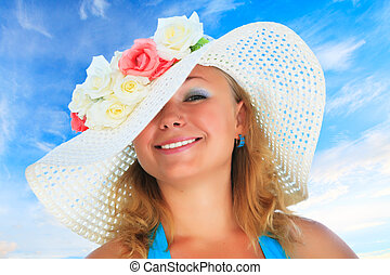 Funny woman - Young funny woman in hat with flowers