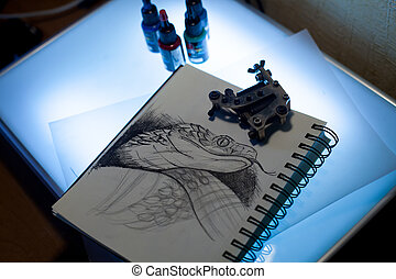 Tattoo equipment and scetch - Tattoo accessories consist of...